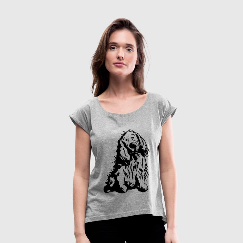 Cute English Cocker Spaniel Cartoon T-Shirts - Women's Roll Cuff T-Shirt