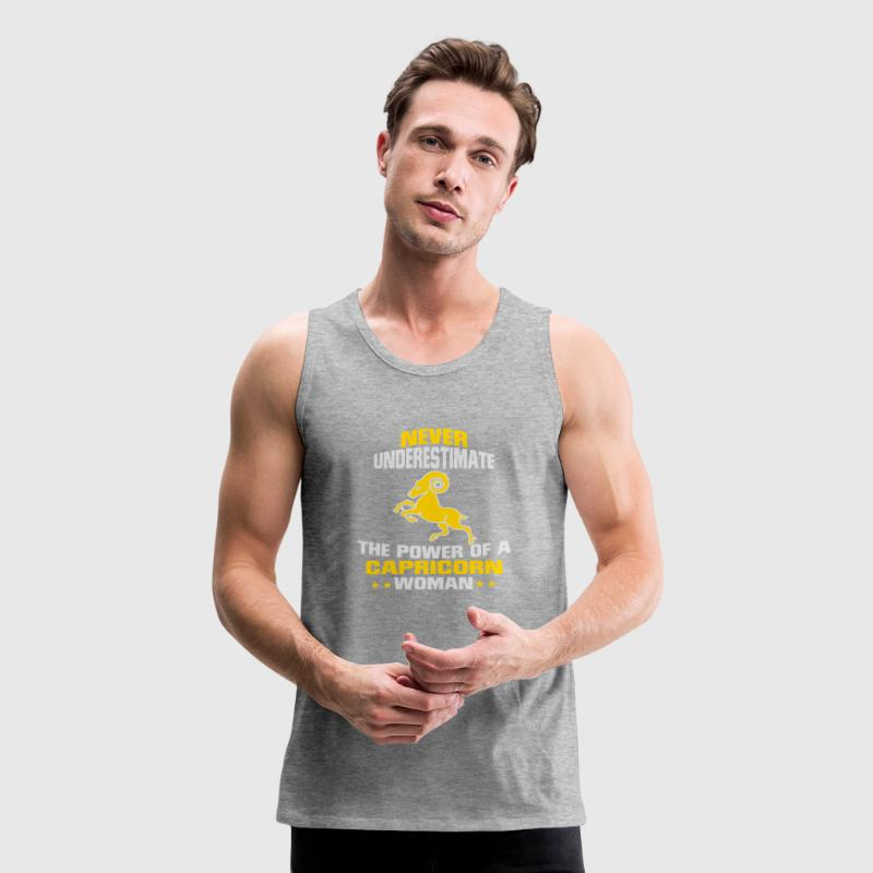NEVER UNDERESTIMATE THE POWER OF A CAPRICORN WOMAN Sportswear - Men's Premium Tank