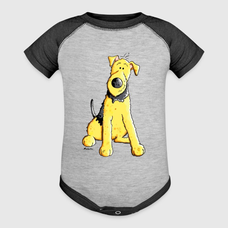 Funny Airedale Terrier Baby Bodysuits - Baby Contrast One Piece