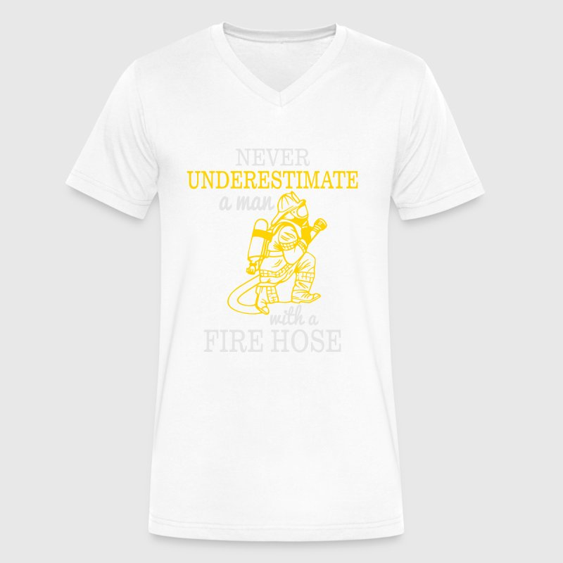 NEVER UNDERESTIMATE A MAN WITH A FIRE HOSE! T-Shirts - Men's V-Neck T-Shirt by Canvas