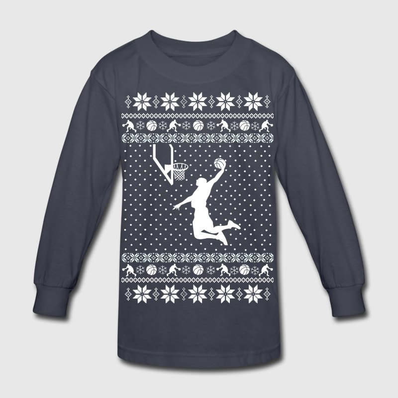 Basketball Xmas Sweater Kids' Shirts - Kids' Long Sleeve T-Shirt