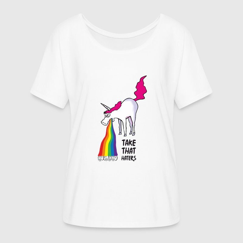 Unicorn puking rainbow - takt that haters T-Shirts - Women's Flowy T-Shirt