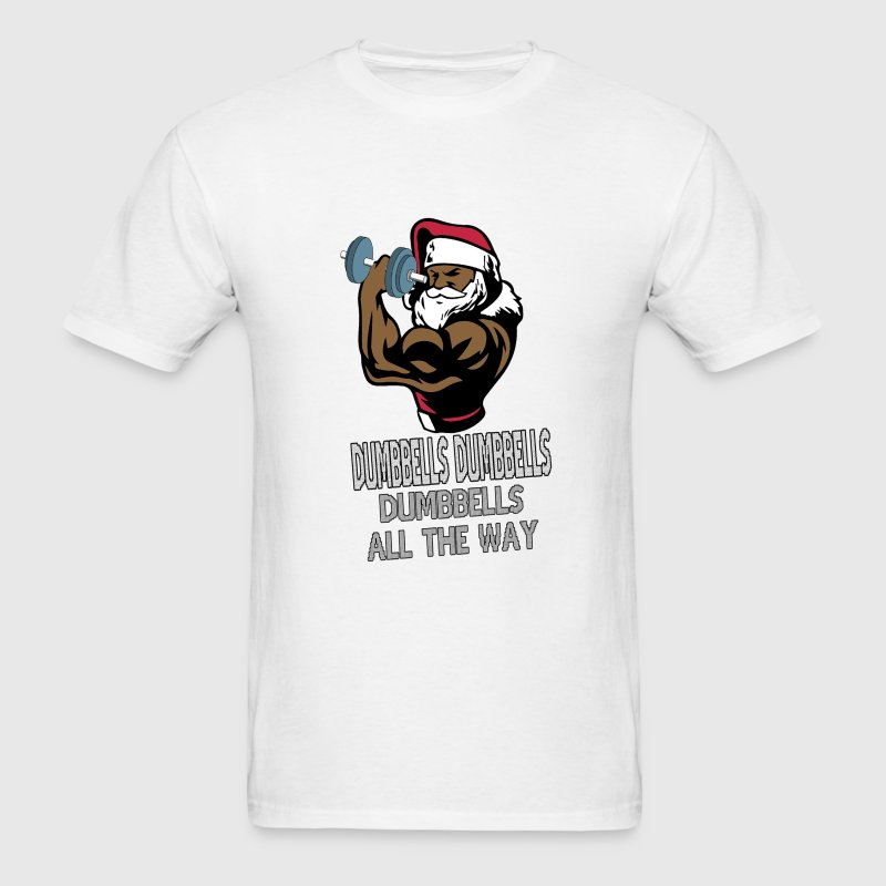 Funny Fitness Muscle Santa with Dumbbells - Men's T-Shirt