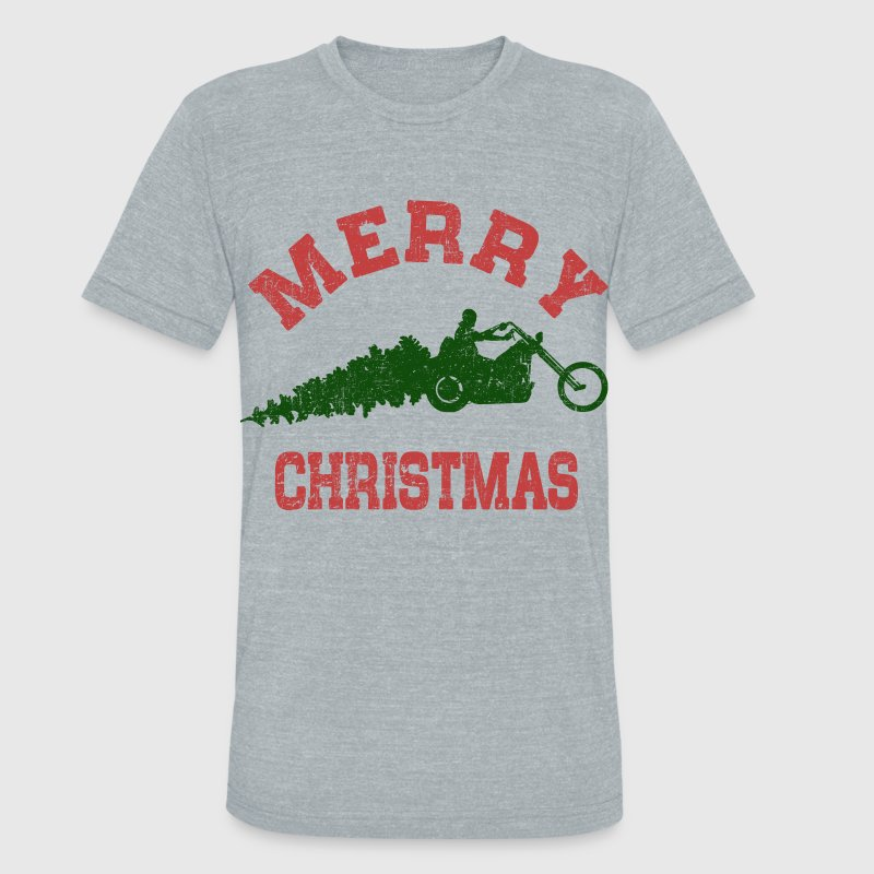 Merry Christmas Biker T-Shirts - Unisex Tri-Blend T-Shirt by American Apparel