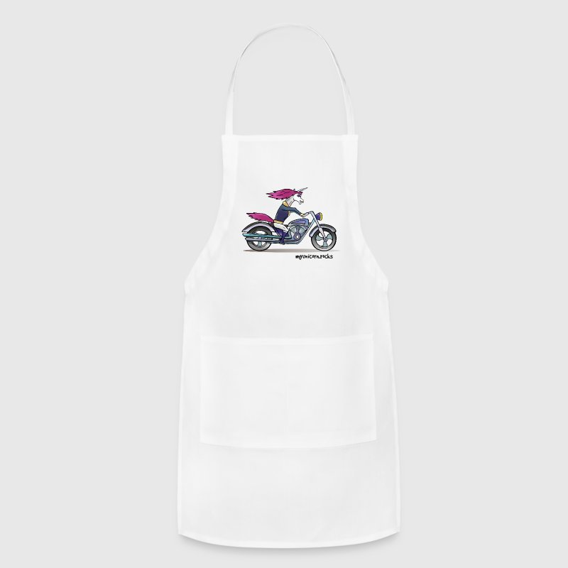Badass unicorn on a motorcycle Aprons - Adjustable Apron