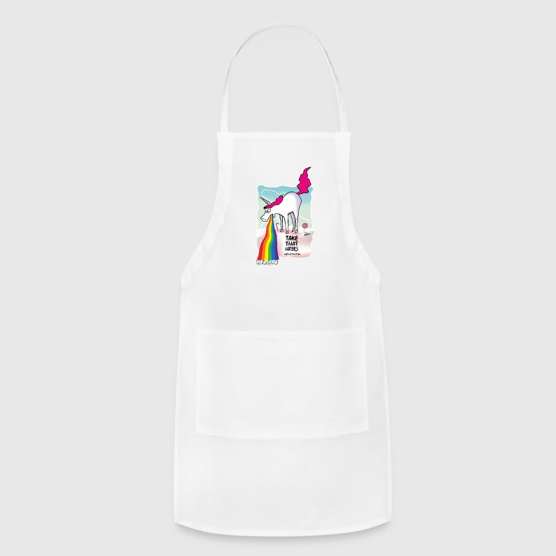 Unicorn vomiting rainbow Aprons - Adjustable Apron