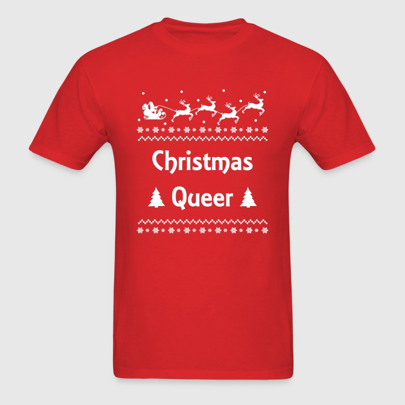 Christmas Queer Holiday Ugly Sweater LGBT Pride T-Shirts - Men's T-Shirt
