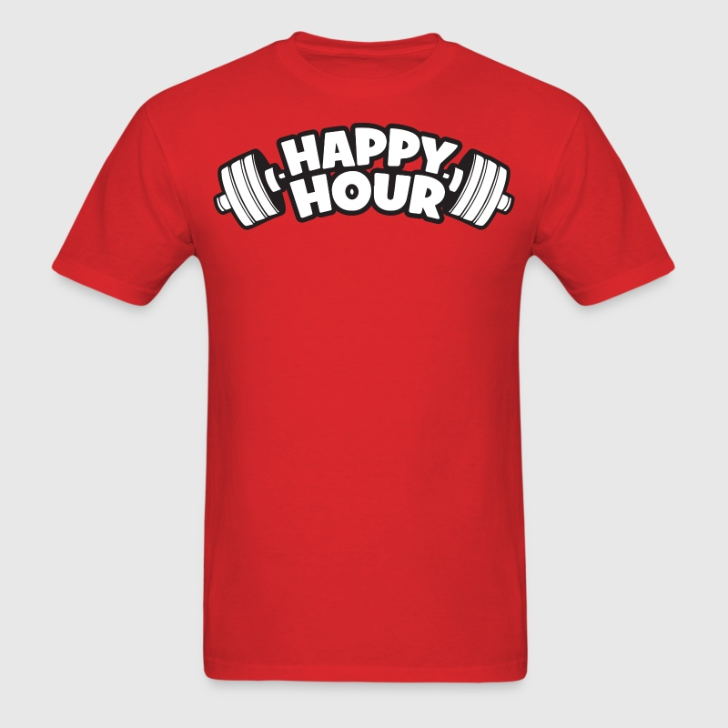 Happy Hour - Barbell T-Shirts - Men's T-Shirt
