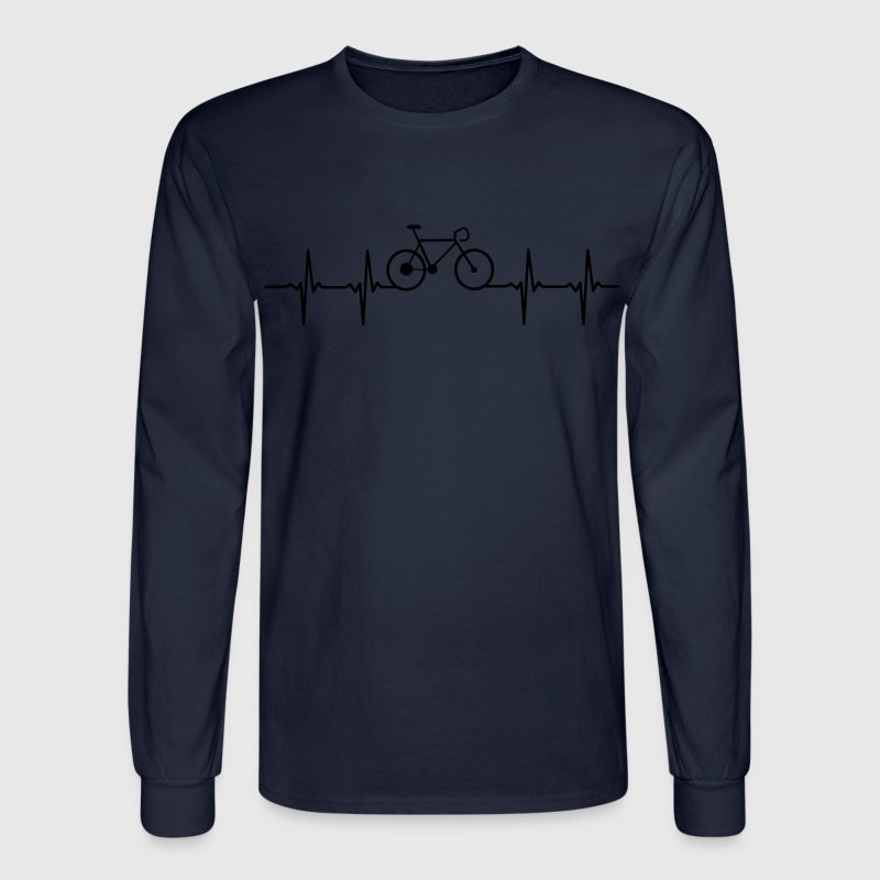 Racing Bike shirt with heartbeat line - Men's Long Sleeve T-Shirt