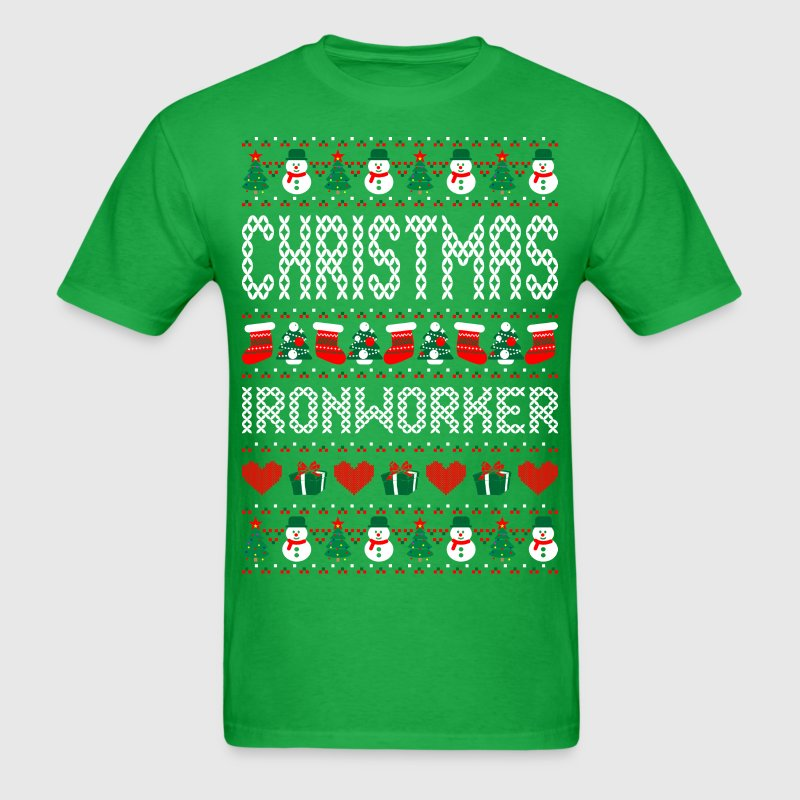 Christmas Ironworker Ugly Christmas Sweater T-Shirts - Men's T-Shirt