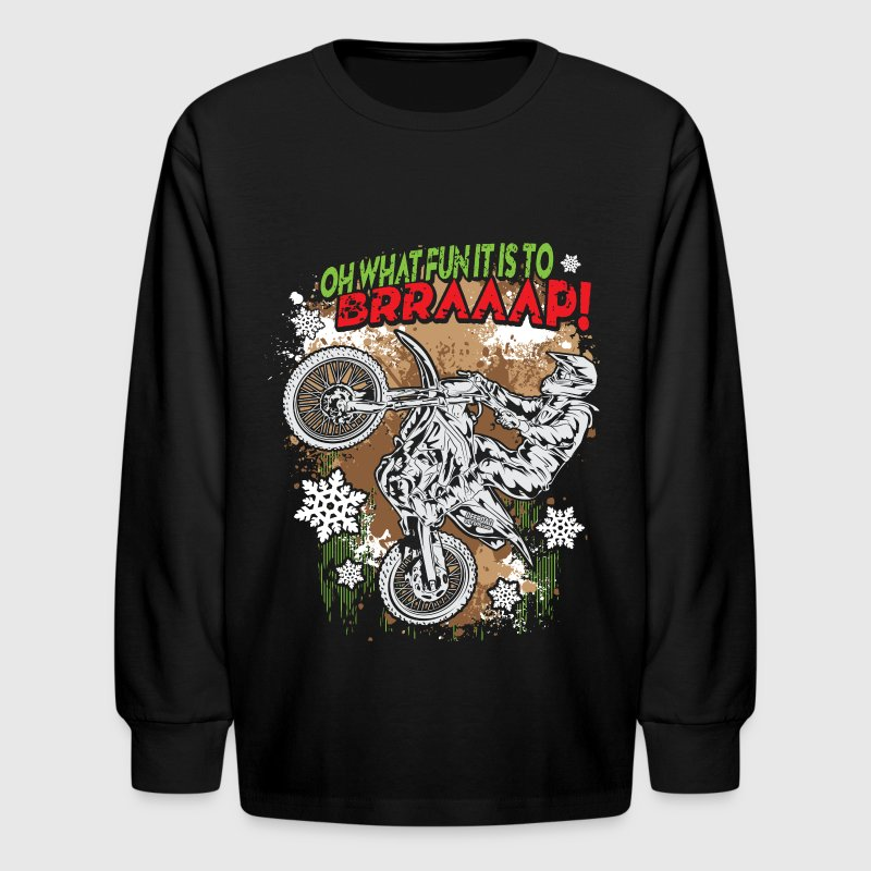 Ugly Motocross Christmas Kids' Shirts - Kids' Long Sleeve T-Shirt