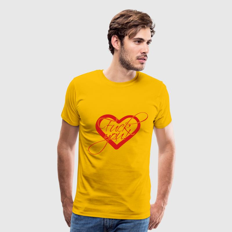 Love in love heart heart symbol fuck you off text  T-Shirts - Men's Premium T-Shirt