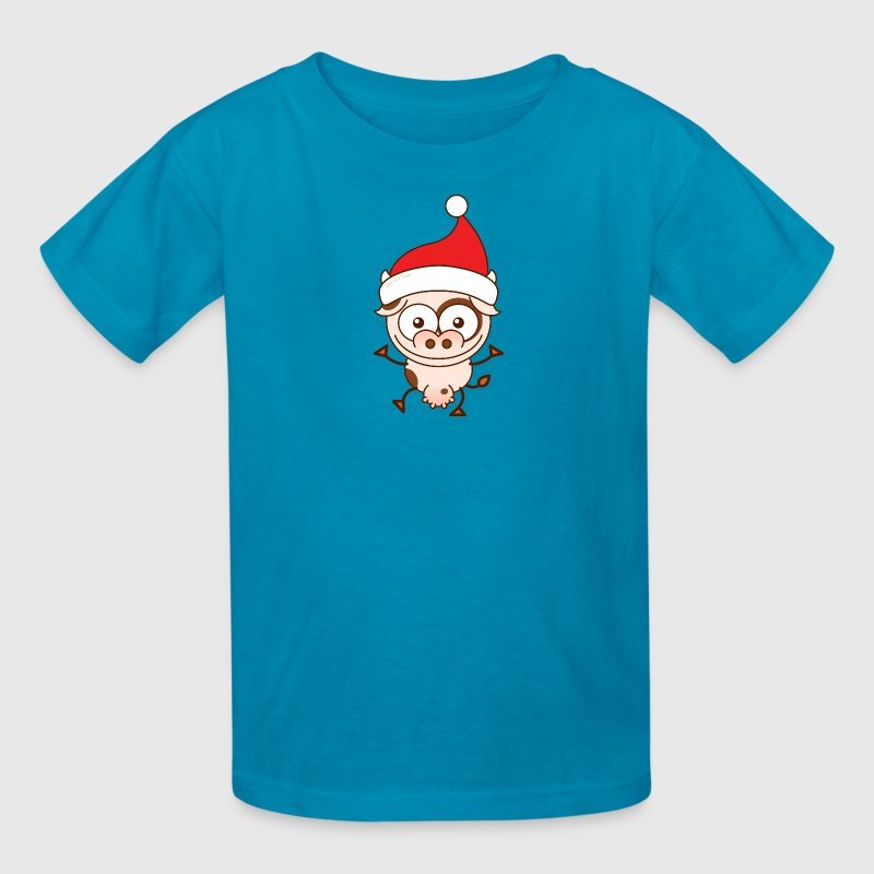 Christmas cow wearing Santa hat Kids' Shirts - Kids' T-Shirt
