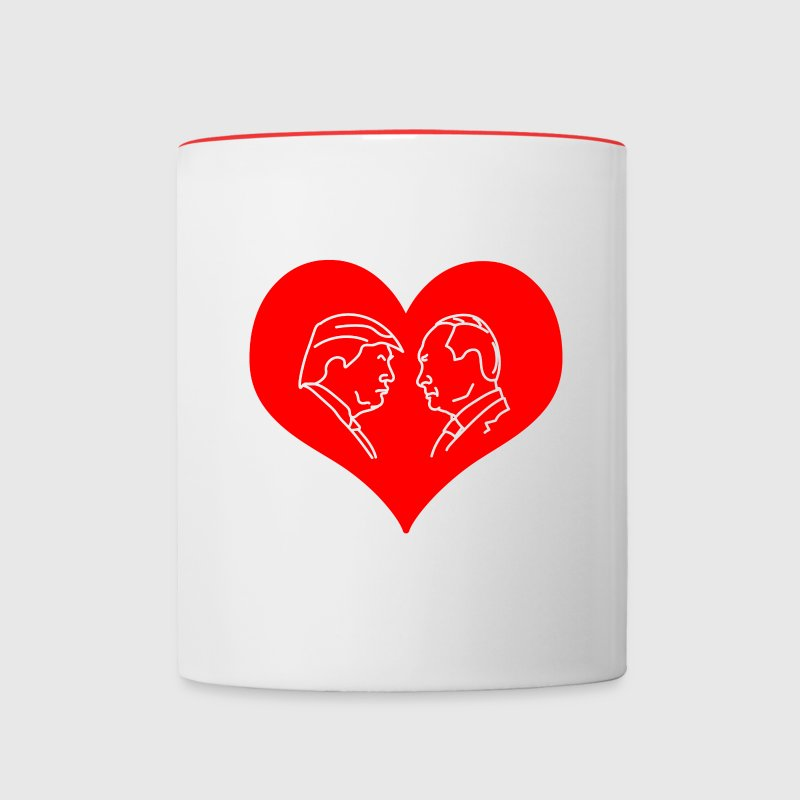 Trump Putin Red Heart Mugs & Drinkware - Contrast Coffee Mug