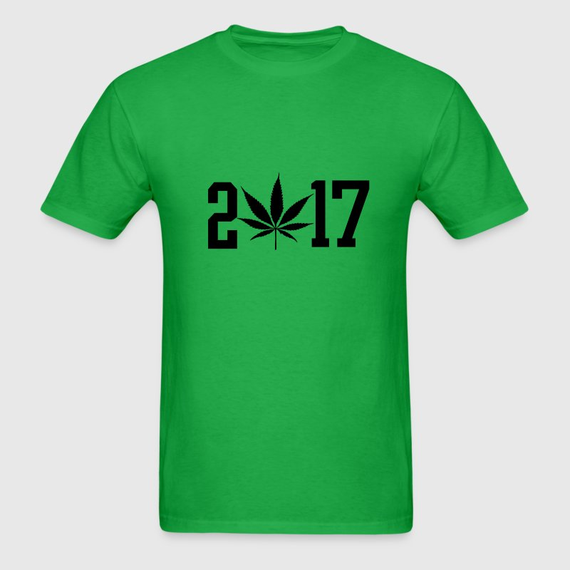 2017 black pot leaf green weed  T-Shirts - Men's T-Shirt