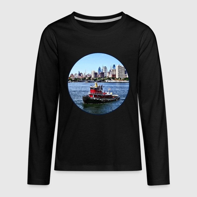 Philadelphia PA - Tugboat by Philadelphia Skyline Kids' Shirts - Kids' Premium Long Sleeve T-Shirt
