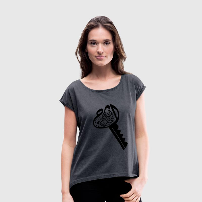 Patience is key to relief - الصبر مفتاح  - Women's Roll Cuff T-Shirt
