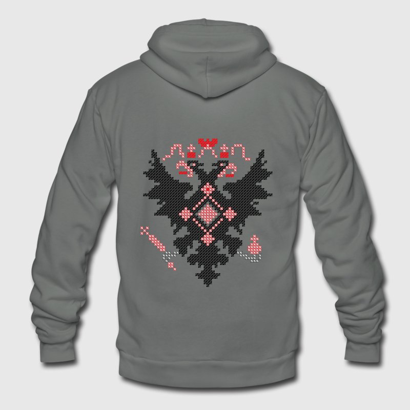 Cross-stitch RUSSIAN IMPERIAL TWO-HEADED EAGLE Hoodies - Unisex Fleece Zip Hoodie by American Apparel