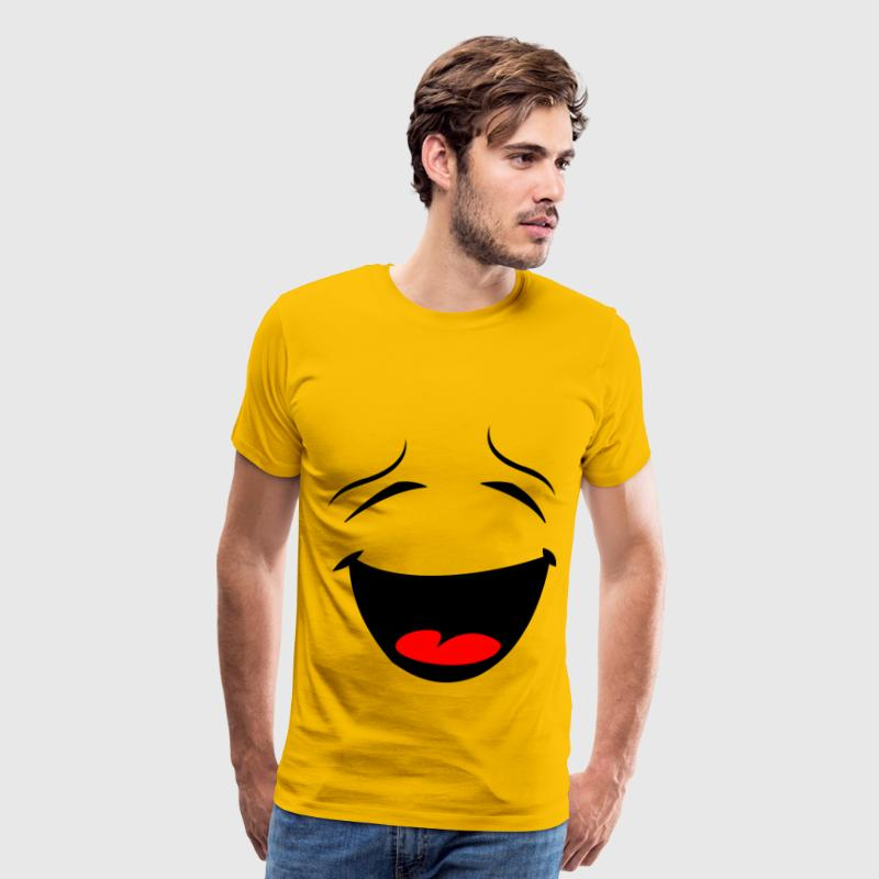 Laughing Smiley Face Silhouette - Men's Premium T-Shirt