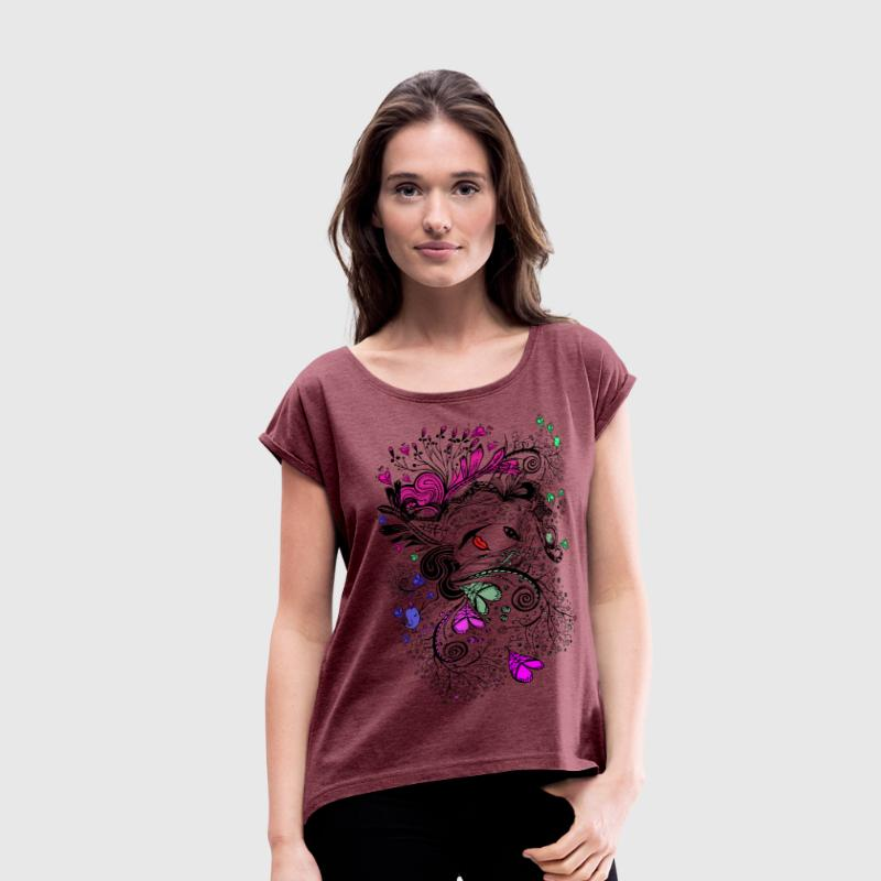 Secret garden doodle Women´s Rolled Sleeve Boxy T - Women's Roll Cuff T-Shirt