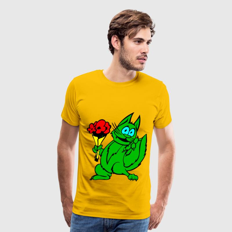 Green Cat With Flowers - Men's Premium T-Shirt