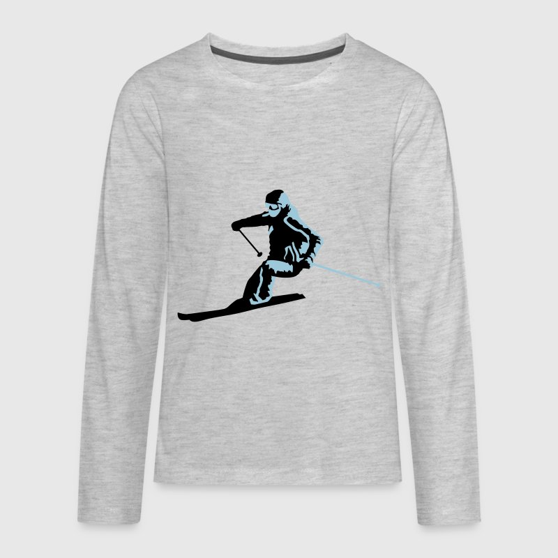 Skiing, skier, ski Kids' Shirts - Kids' Premium Long Sleeve T-Shirt