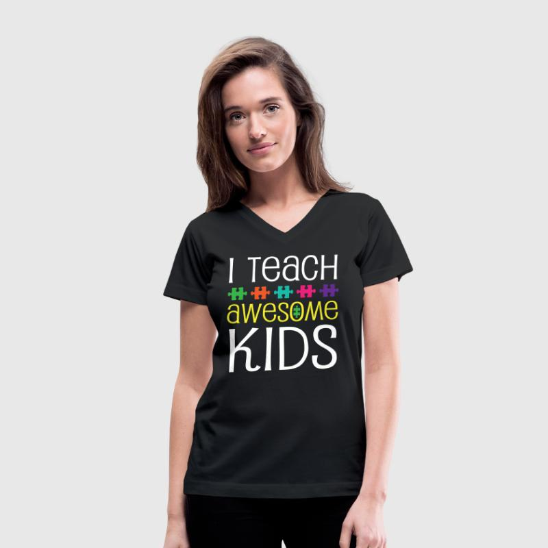 Autism Teacher Awareness Support T-Shirts - Women's V-Neck T-Shirt
