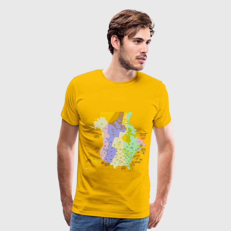 Usa Canada Time Zone Map - Men's Premium T-Shirt