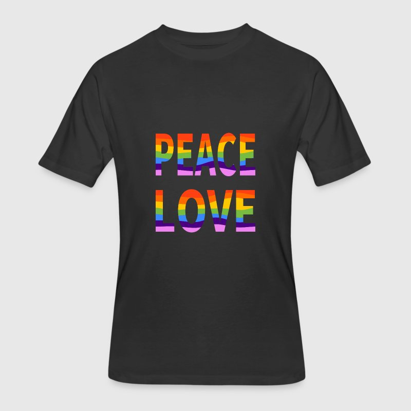 Pro LGBT Pride Peace Love Men's Black 50/50 Tee - Men's 50/50 T-Shirt