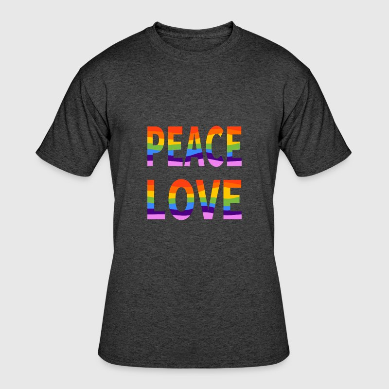 LGBT Peace Love Men's Heather Black 50/50 Tee - Men's 50/50 T-Shirt
