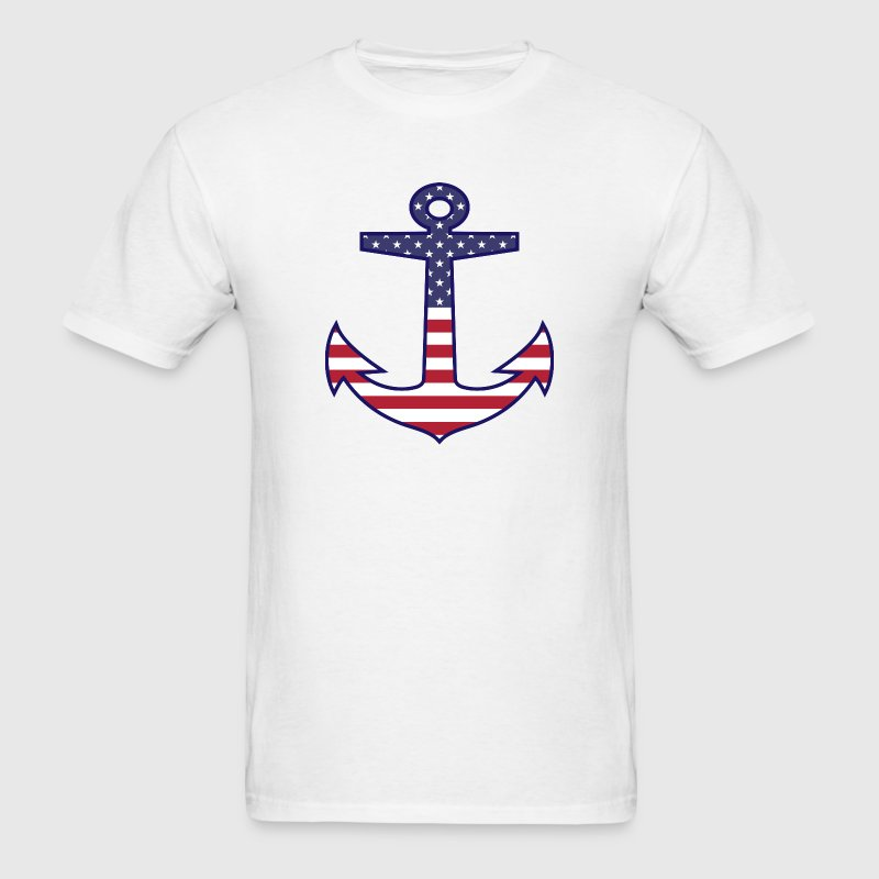 Patriotic American Flag Anchor Nautical T-Shirts - Men's T-Shirt