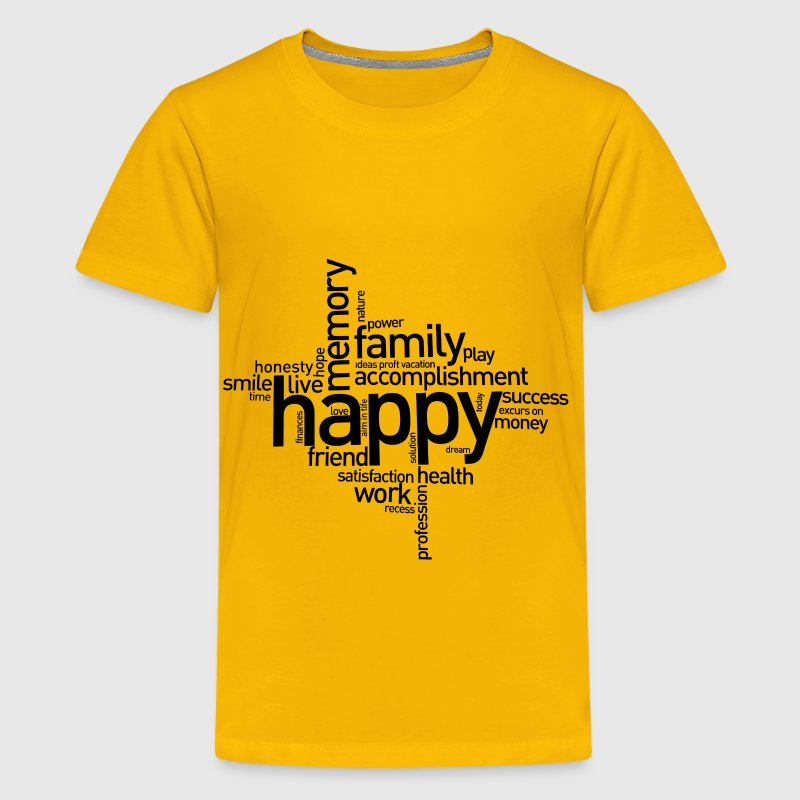 Happy family word cluster sign - Kids' Premium T-Shirt