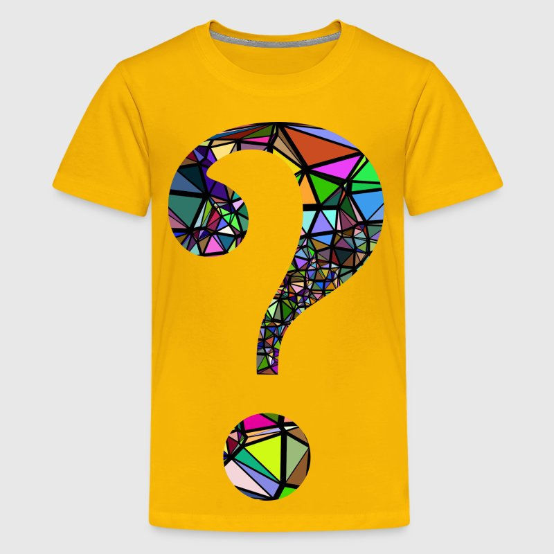 Low Poly Shattered Question Mark With Background - Kids' Premium T-Shirt