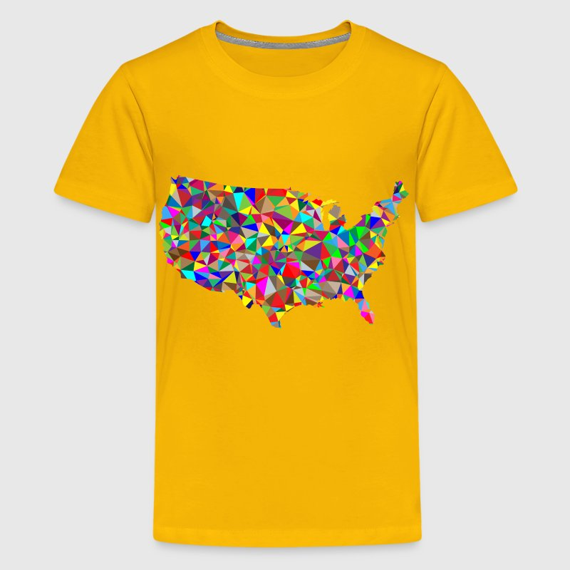 Flat Color Low Poly America USA Map - Kids' Premium T-Shirt