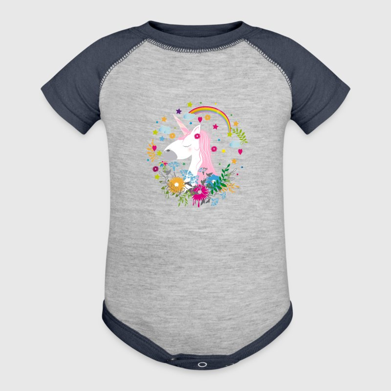 Cute unicorn with pink hair Baby Bodysuits - Baby Contrast One Piece