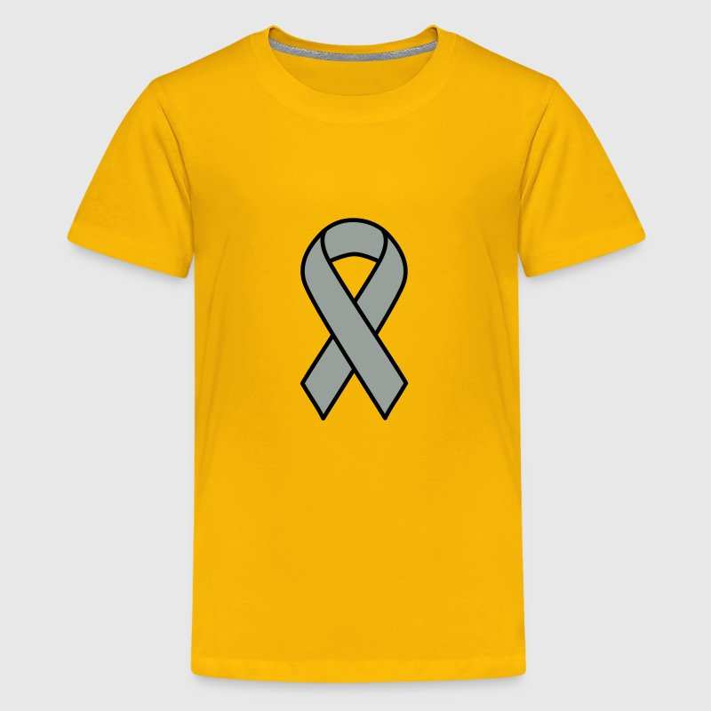 Grey Brain Cancer Ribbon - Kids' Premium T-Shirt