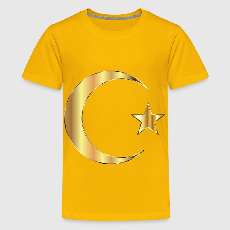 Golden Crescent Moon And Star Without Background - Kids' Premium T-Shirt