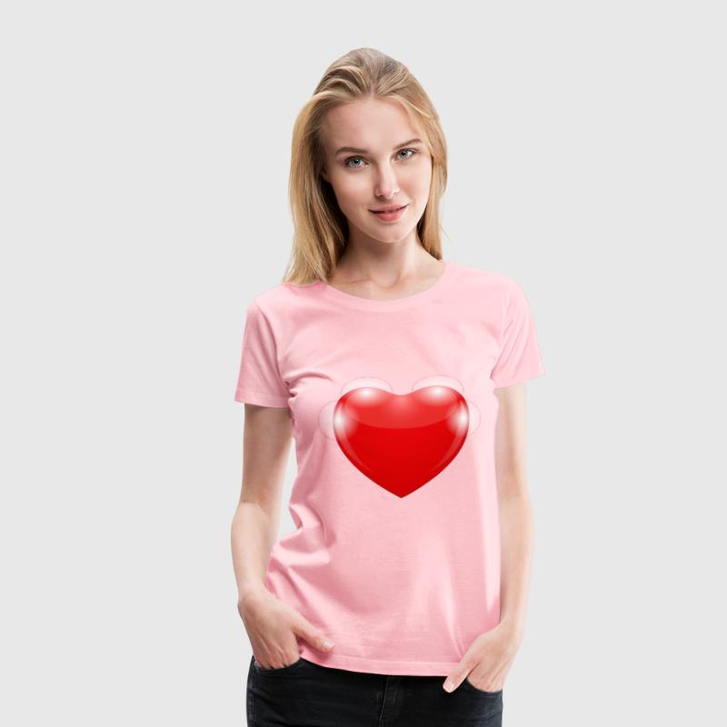 Bright Red Shiny Heart - Women's Premium T-Shirt