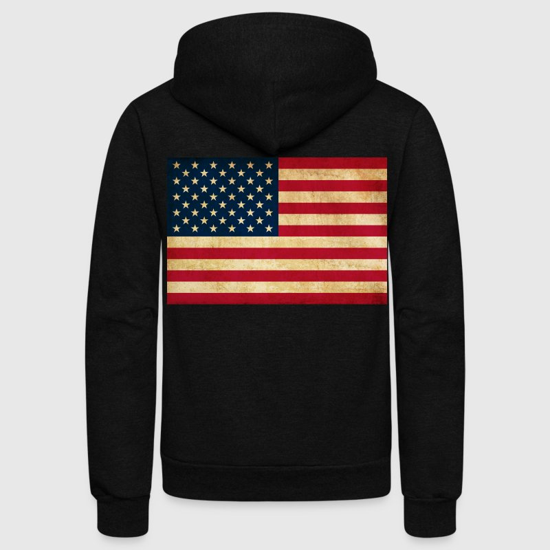 Grunge Vintage Patriotic American Flag - Unisex Fleece Zip Hoodie by American Apparel