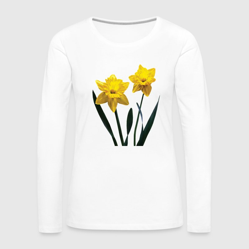 Yellow Daffodil Pair Long Sleeve Shirts - Women's Premium Long Sleeve T-Shirt