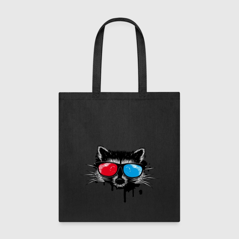 Raccoon with 3D glasses Bags & backpacks - Tote Bag