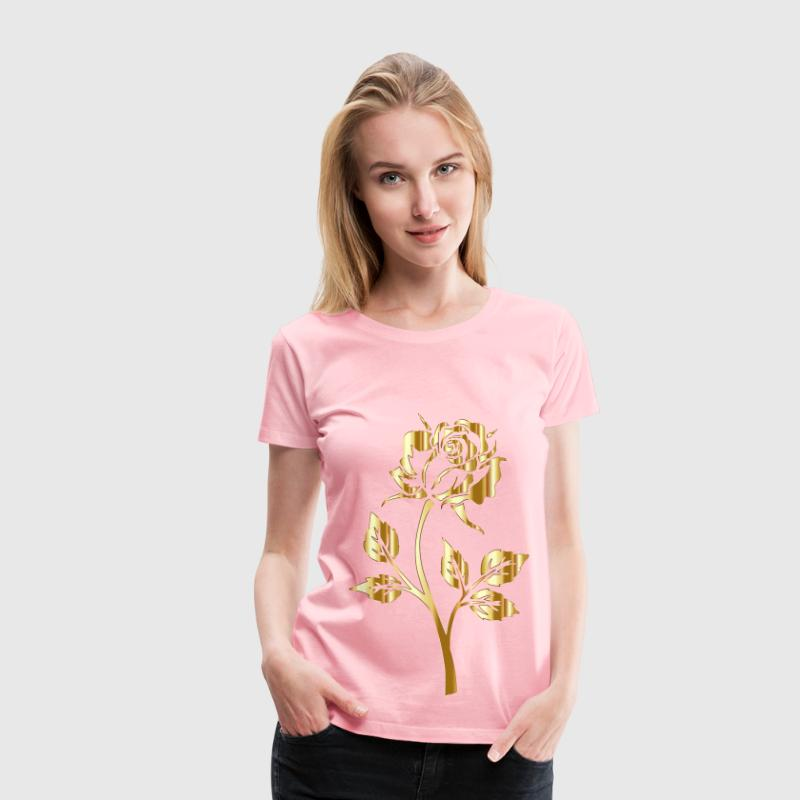 Gold Rose Silhouette No Background - Women's Premium T-Shirt