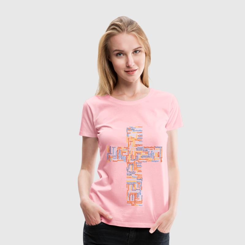 Jesus Cross Word Cloud No Background - Women's Premium T-Shirt