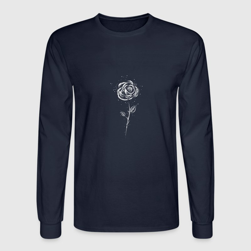 Drawing of a white rose Long Sleeve Shirts - Men's Long Sleeve T-Shirt