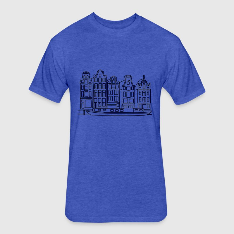 Amsterdam Canal houses T-Shirts - Fitted Cotton/Poly T-Shirt by Next Level