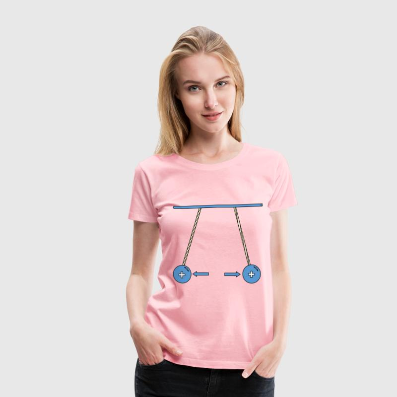 Physic diagram: positively charged pith balls repe - Women's Premium T-Shirt