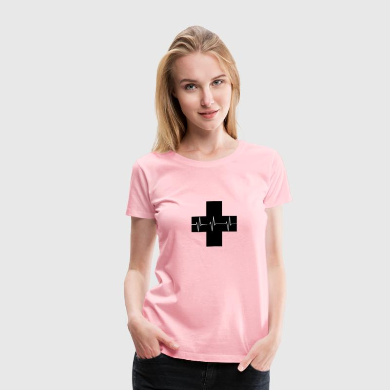 Red Cross First Aid Icon Optimized Silhouette - Women's Premium T-Shirt