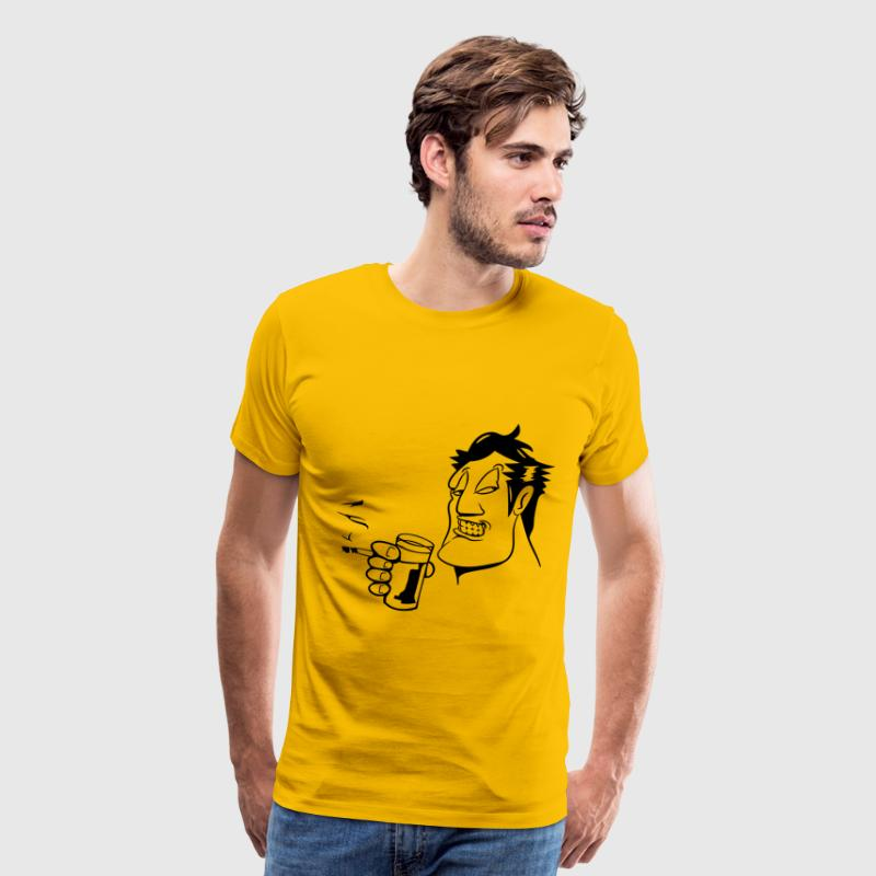 Head hand drink drinking cigarette fry party glass T-Shirts - Men's Premium T-Shirt