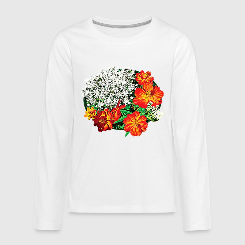 Queen Anne's Lace with Orange Flowers Kids' Shirts - Kids' Premium Long Sleeve T-Shirt