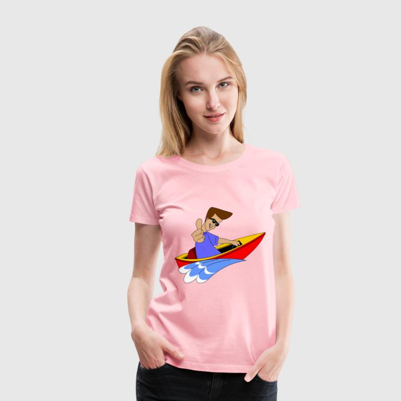 Thumbs Up Boy In Speed Boat - Women's Premium T-Shirt